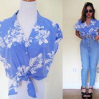 Vintage XL cropped hawaiian button down tie up blue white shirt floral flower