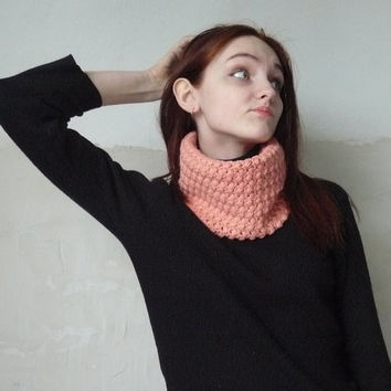 Autumn infinity scarf Crochet cowl Cowl neck scarf Loop scarf Knitted cowl Neck warmer Orange Pink Circle scarf Wool scarves Gift for her