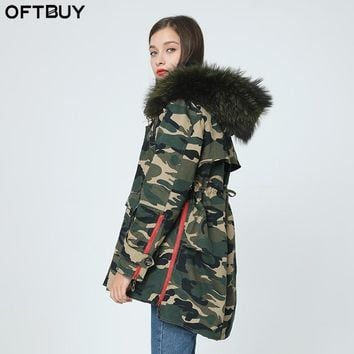 OFTBUY 2017 winter jacket coat women outwear 100 real raccoon fur collar asymmetrical loose Leopard long black Camouflage parka