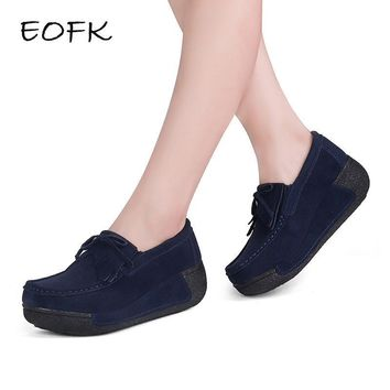 EOFK Women Flat Platform Loafers Ladies Elegant Suede Moccasins Fringe Shoes Woman Sli