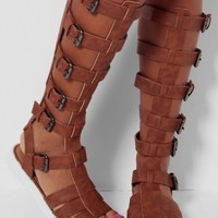 Demeter Tan Knee High Gladiator Sandals | Pink Boutique