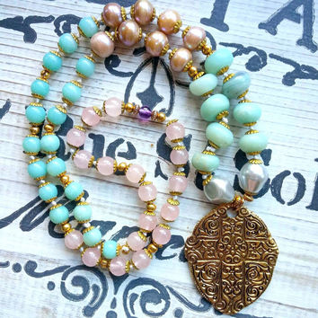 Cross Necklace, Amazonite, Pearls, Rose Quartz Hand Knotted Necklace Bohemian Jewelry