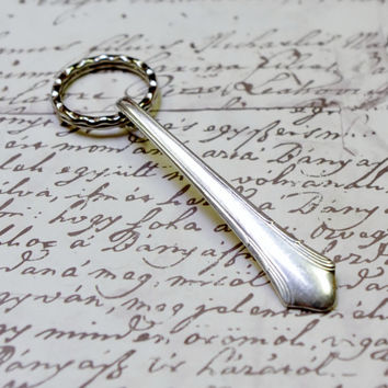 Key Ring Handcrafted Vintage Spoon Handle Gorham Lady Caroline Pattern 1930s Upcycled Silverware Flatware