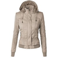 Young17 2018 Women Jacket Zipper Spring Winter PU Casual Fashion Solid Slim Outerwear Jackets Fall Warm Thick Jackets