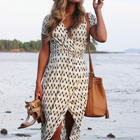 Apricot V-Neck Short Sleeve Printed Maxi Dress