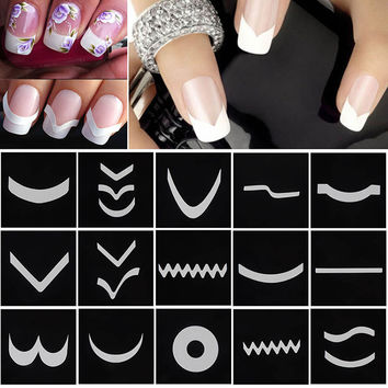 Focallure 18 Sheets/Set French Manicure DIY Nail Art Tips Guides Stickers Stencil Strip #M01615