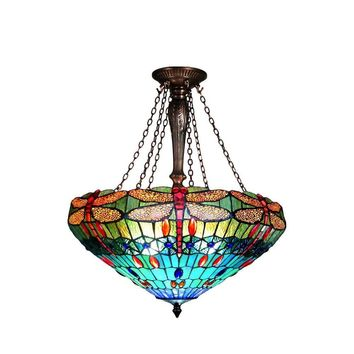 """Scarlet, Tiffany-Style 3 Light Dragonfly Inverted Ceiling Pendant 24"""" Shade"""