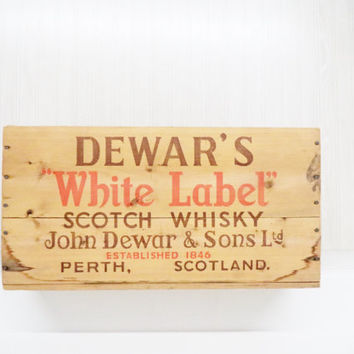 Vintage Dewar's White Label Scotch Whisky Wooden Shipping Crate Wood Scotland Box Rustic Organization Storage Typography  New York Bar