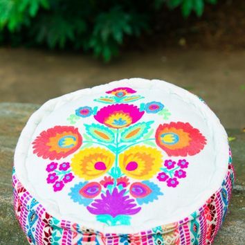 Something To Love Pink Embroidered Pouf
