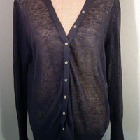 J.Crew Sweater navy blue loose knit light linen cardigan sz XL X Large