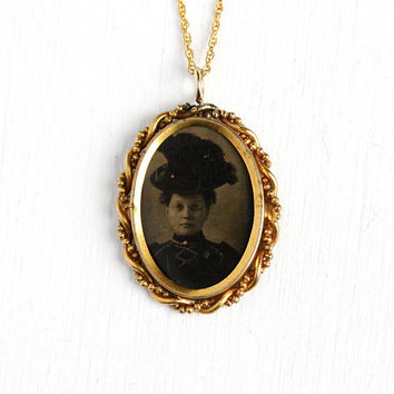 Victorian Tintype Pendant - Antique 1890 Era Gold Filled Photograph Portrait Necklace - Historical Woman Picture Early Photo Vintage Jewelry