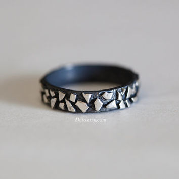 Size 8.5, Oxidized Sterling Silver Textured Ring, Crackle Ring, Mosaic Band, Industrial Ring, Thick Band, Punk Rock Ring, Ready To Ship!