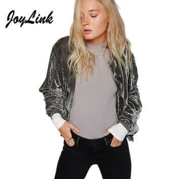 JoyLink Vadim Women Bomber Jacket Velvet Gray Casual Slim Zipper Ruffle Female Jacket Streetwear Basic Jackets Coats New