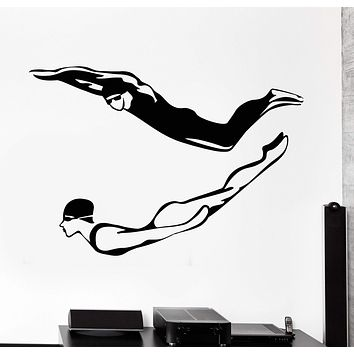 Vinyl Wall Decal Swimmer Swimming Pool Water Sports Stickers Unique Gift (1051ig)