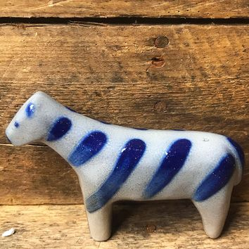 Blue Salt Glazed Stoneware Zebra Figure