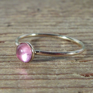 Stacking Ring Gold Pink Saphire Gemstone