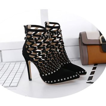 Rivet Studded Cut Out Caged Ankle Boots Stiletto High Heel