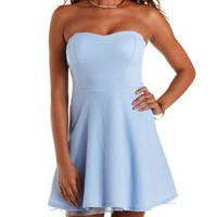 Periwinkle Tulle-Lined Strapless Skater Dress by Charlotte Russe