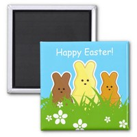 Cute Easter Bunnies Square Magnet