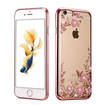 New Rhinestones Transparent Soft TPU Plating Case For Apple iPhone 5 5s 5c 6 6s 6 plus 6s plus 7 7 plus Clear Cover p20