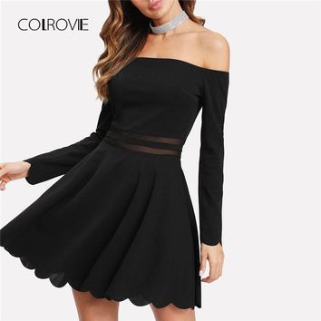 COLROVIE Mesh Insert Bardot Fit & Flare Dress 2018 New A Line Long Sleeve Short Dress Female Off the Shoulder Party Dress