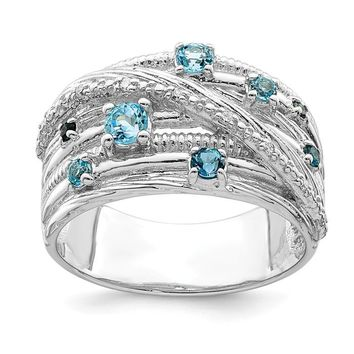 Sterling Silver London Blue Topaz And Diamond Multi Stone Ring