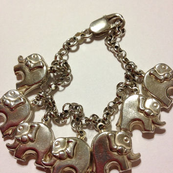 "Sterling Elephants Charm Bracelet Italy 13.7 Grams 7.25"" Silver 925 Vintage Italian 60s Jewelry Handmade Gift Heavy Animal Lovers Boho Mod"
