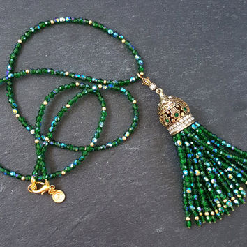Ethnic Turkish Tassel Necklace Sparkly Emerald Green Statement Gypsy Hippie Bohemian Artisan - One Of A Kind