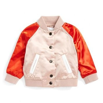 Burberry Bartinstead Satin Bomber Jacket (Baby Girls) | Nordstrom