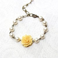 Bridemaids Bracelet Yellow Rose Bracelet with pearls Flower Bracelet Wedding Jewelry Maid of Honor Gift Romantic Bridal Accessories