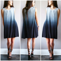 A Blue Grey Stone Ombre Potato Sack Dress