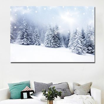 HD Prints Landscape Winter Snow Fir Tree Painting Printed On Canvas Prints Posters Home Decoration Wall Art Paintings Unframed