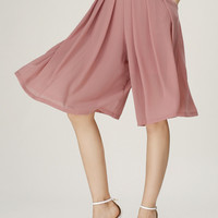 Pink Pockets Chiffon Wide Leg Cropped Pants