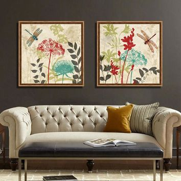 Bana flowers and dragonflies vintage floral prints canvas pictures for living room bedroom home decorative wall art schilderij
