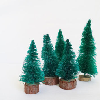 5 Bottle Brush Trees, Collection, Forest ,Tree, Decorations, Holidays ,Christmas, Home Decor, Supplies