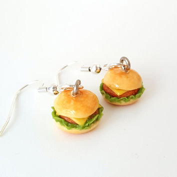 Miniature Chicken Sandwich burger Earring with Silver Plated or Sterling Silver your choice