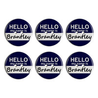 Brantley Hello My Name Is Plastic Resin Button Set of 6
