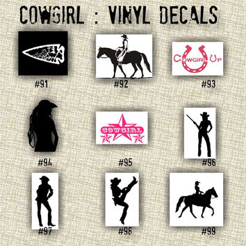 COWGIRL vinyl decals | country western | country girl | car decals | car stickers | laptop sticker - 91-99