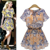 Summer Women's Fashion Print Chiffon Shaped One Piece Dress [6339057409]