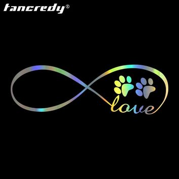 1pcs 13*4cm Dog Footprints LOVE Car Stickers and Decals Car Motorcycle Accessories Vinyl Body Car Decals and Stickers0246