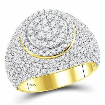 10kt Yellow Gold Men's Round Diamond Flower Cluster Ring 2.00 Cttw - FREE Shipping (US/CAN)