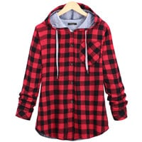 2016 Fashion Women Hoodies Cotton Autumn Coat Long Sleeve Plaid cotton Hoodies Sport button Sweatshirts