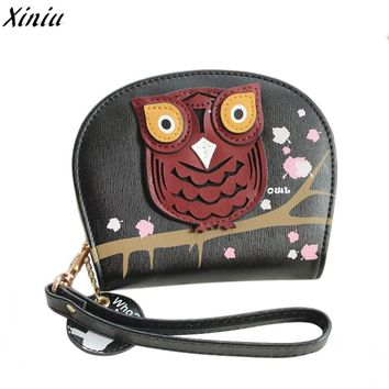 Girl Money Bag Owl Printing Clutch Wallet Vintage Change Wallet Brand Design Casual Purse monedero de mujer *7726
