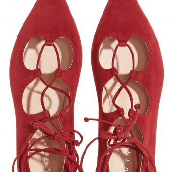Lace-up Suede Ballet Flat | Calypso St. Barth
