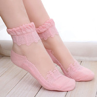 New 5 Color Ultrathin Transparent Crystal Lace Elastic Socks For Women Kawaii Socks Hot Sale Cute Socks