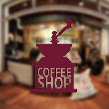 ik2357 Wall Decal Sticker vintage old grinder coffee house cafe restaurant kitchen