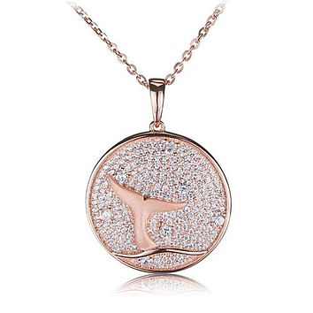 Sterling Silver Pink Gold Plated Pave Cubic Zirconia Whale Tail in Circle Pendant(Chain Sold Separately)