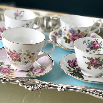 Vintage Mismatched China Teacups and Saucers, Mix and Match, Bridal Shower Tea  Party,  High Tea,  Pink and Green Tea Cups