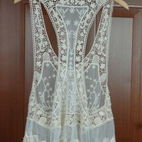 Handmade lace crotch pullover knitted sleeveless small vest
