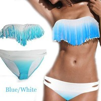 Hot Blue/White Gradient Dolly Fringed Tassels Swimsuit